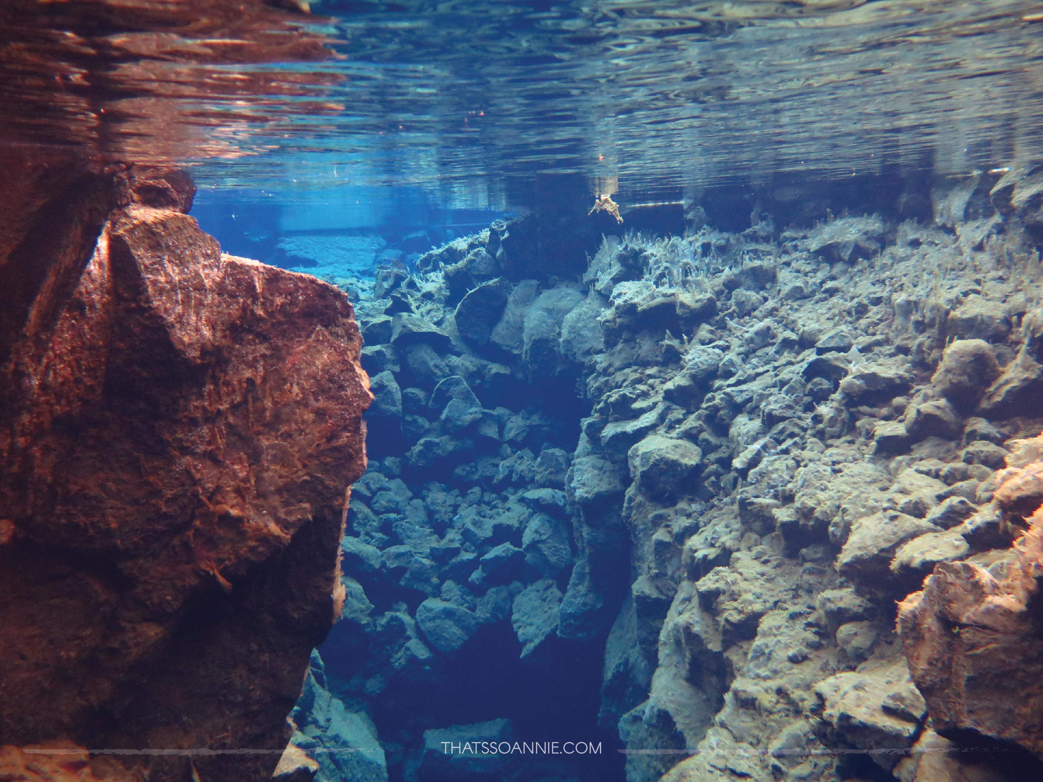 Snorkeling between American and Eurasian Tectonic Plates at Big Crack, Silfra Fissure, Iceland | www.thatssoannie.com