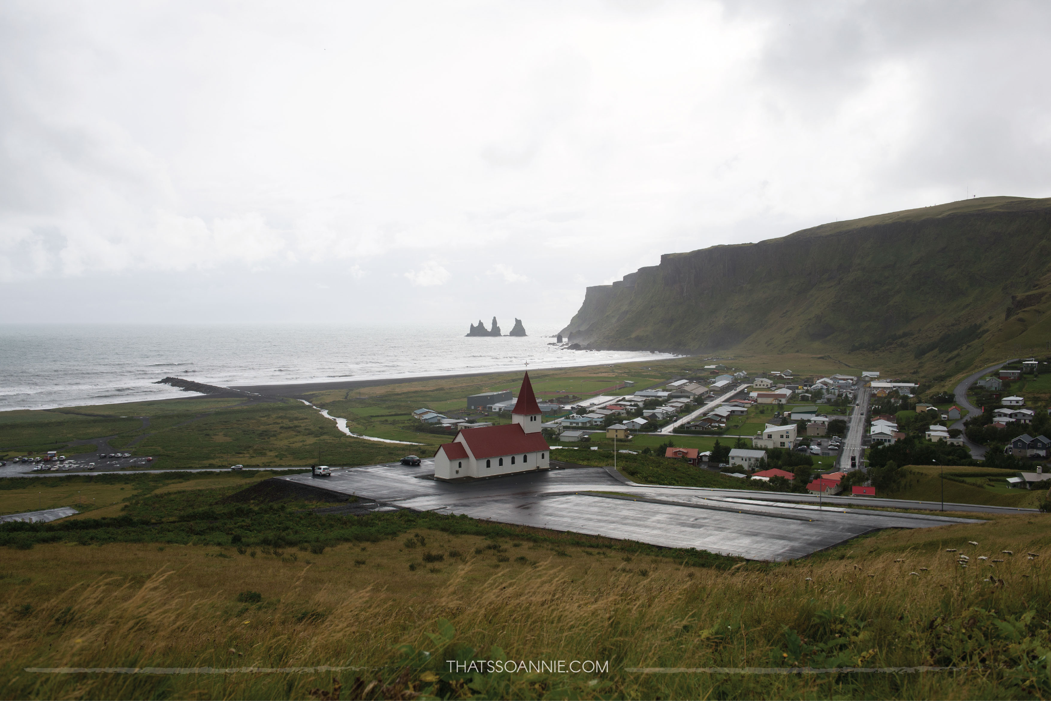The village of Vik, on an overcast day